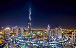 Dubai Burj Khalifa Tower at night