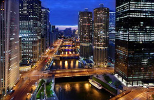 Chicago River Night View