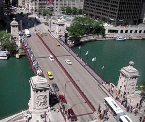 Michigan Avenue Bridge Aerial View