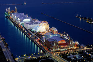 Navy Pier Aerial Night View